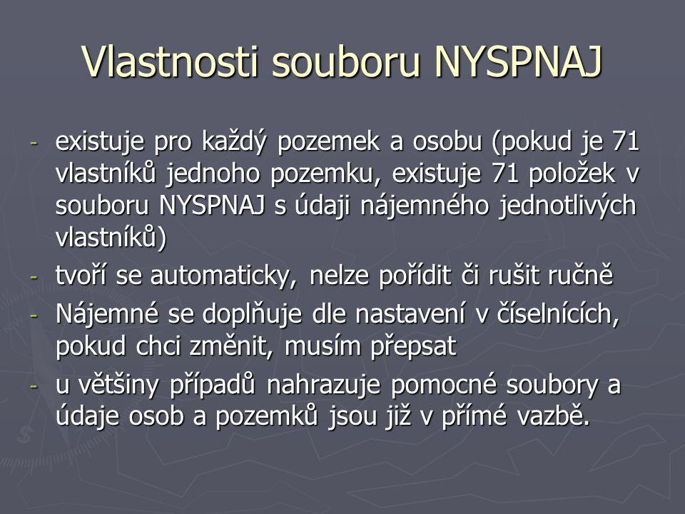 Vlastnosti souboru NYSPNAJ - existuje pro každý pozemek a osobu (pokud je 71 vlastníků jednoho pozemku, existuje 71 položek v souboru NYSPNAJ s údaji