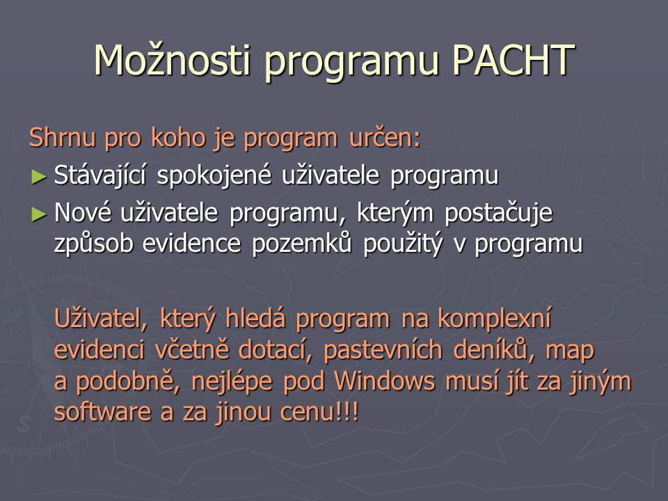 Možnosti programu PACHT Shrnu pro koho je program určen: ► Stávající spokojené uživatele programu ► Nové uživatele programu, kterým postačuje způsob e