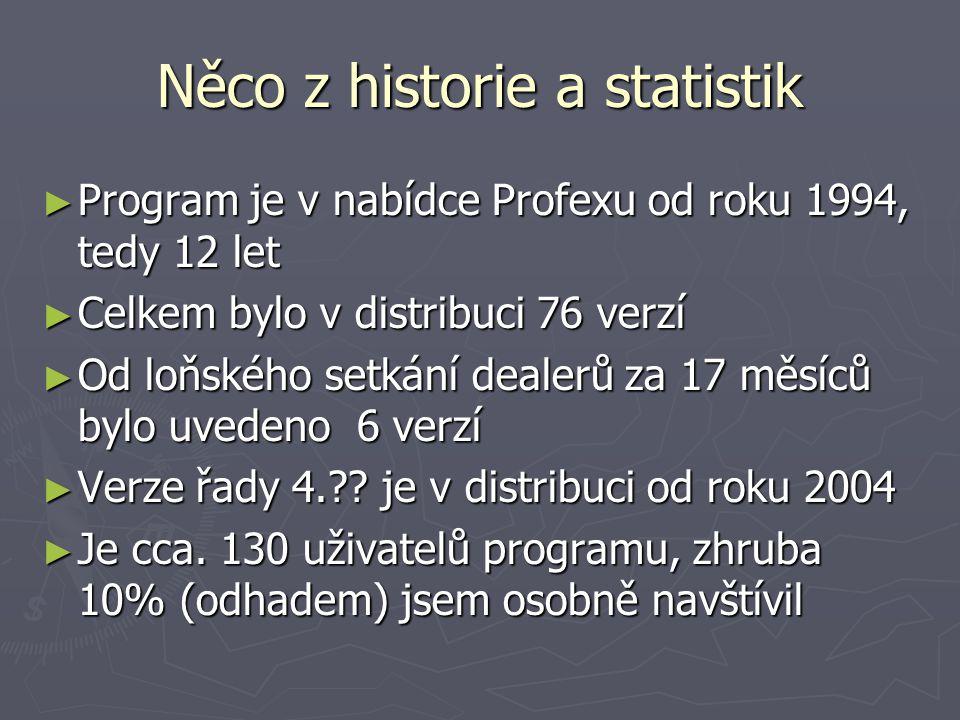 Něco z historie a statistik ► Program je v nabídce Profexu od roku 1994, tedy 12 let ► Celkem bylo v distribuci 76 verzí ► Od loňského setkání dealerů