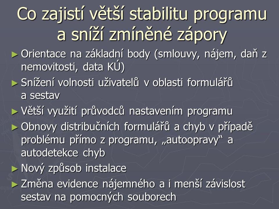 Co zajistí větší stabilitu programu a sníží zmíněné zápory ► Orientace na základní body (smlouvy, nájem, daň z nemovitosti, data KÚ) ► Snížení volnost