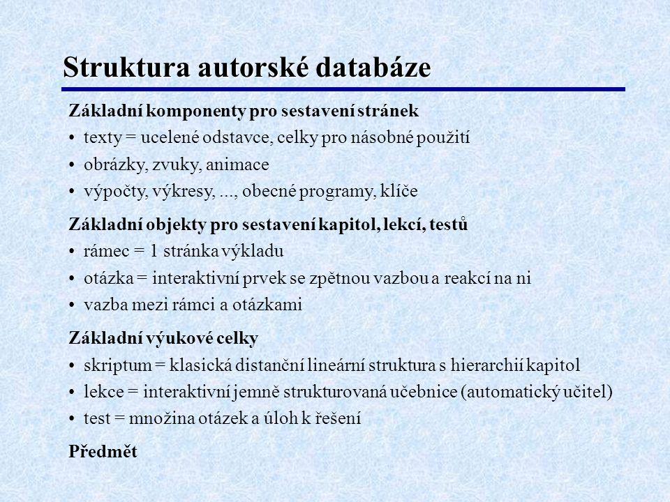 Struktura autorské databáze Základní komponenty pro sestavení stránek • texty = ucelené odstavce, celky pro násobné použití • obrázky, zvuky, animace • výpočty, výkresy,..., obecné programy, klíče Základní objekty pro sestavení kapitol, lekcí, testů • rámec = 1 stránka výkladu • otázka = interaktivní prvek se zpětnou vazbou a reakcí na ni • vazba mezi rámci a otázkami Základní výukové celky • skriptum = klasická distanční lineární struktura s hierarchií kapitol • lekce = interaktivní jemně strukturovaná učebnice (automatický učitel) • test = množina otázek a úloh k řešení Předmět