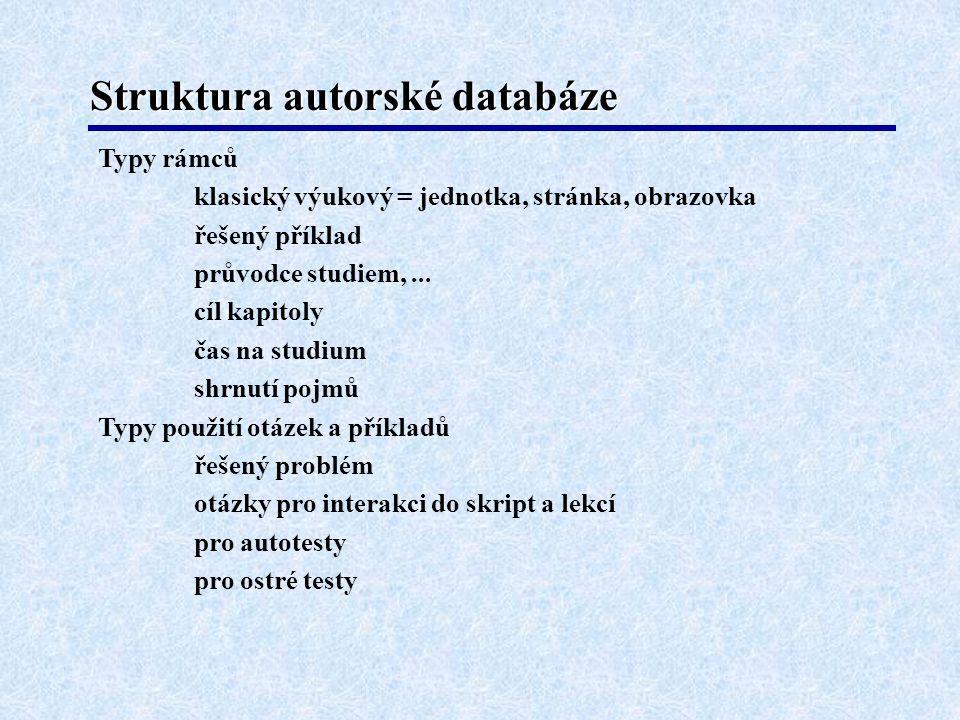 Struktura autorské databáze Typy rámců klasický výukový = jednotka, stránka, obrazovka řešený příklad průvodce studiem,...