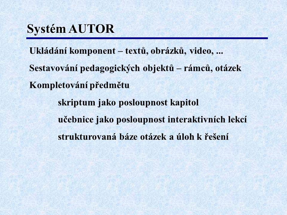 Systém AUTOR Ukládání komponent – textů, obrázků, video,... Sestavování pedagogických objektů – rámců, otázek Kompletování předmětu skriptum jako posl