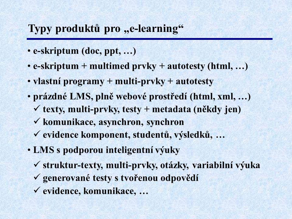 """Typy produktů pro """"e-learning • e-skriptum (doc, ppt, …) • e-skriptum + multimed prvky + autotesty (html, …) • vlastní programy + multi-prvky + autotesty • prázdné LMS, plně webové prostředí (html, xml, …)  texty, multi-prvky, testy + metadata (někdy jen)  komunikace, asynchron, synchron  evidence komponent, studentů, výsledků, … • LMS s podporou inteligentní výuky  struktur-texty, multi-prvky, otázky, variabilní výuka  generované testy s tvořenou odpovědí  evidence, komunikace, …"""