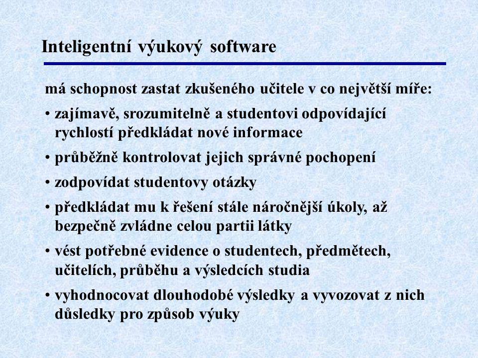 Inteligentní výukový software má schopnost zastat zkušeného učitele v co největší míře: •zajímavě, srozumitelně a studentovi odpovídající rychlostí př