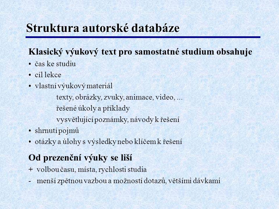 Struktura autorské databáze Klasický výukový text pro samostatné studium obsahuje • čas ke studiu • cíl lekce • vlastní výukový materiál texty, obrázk