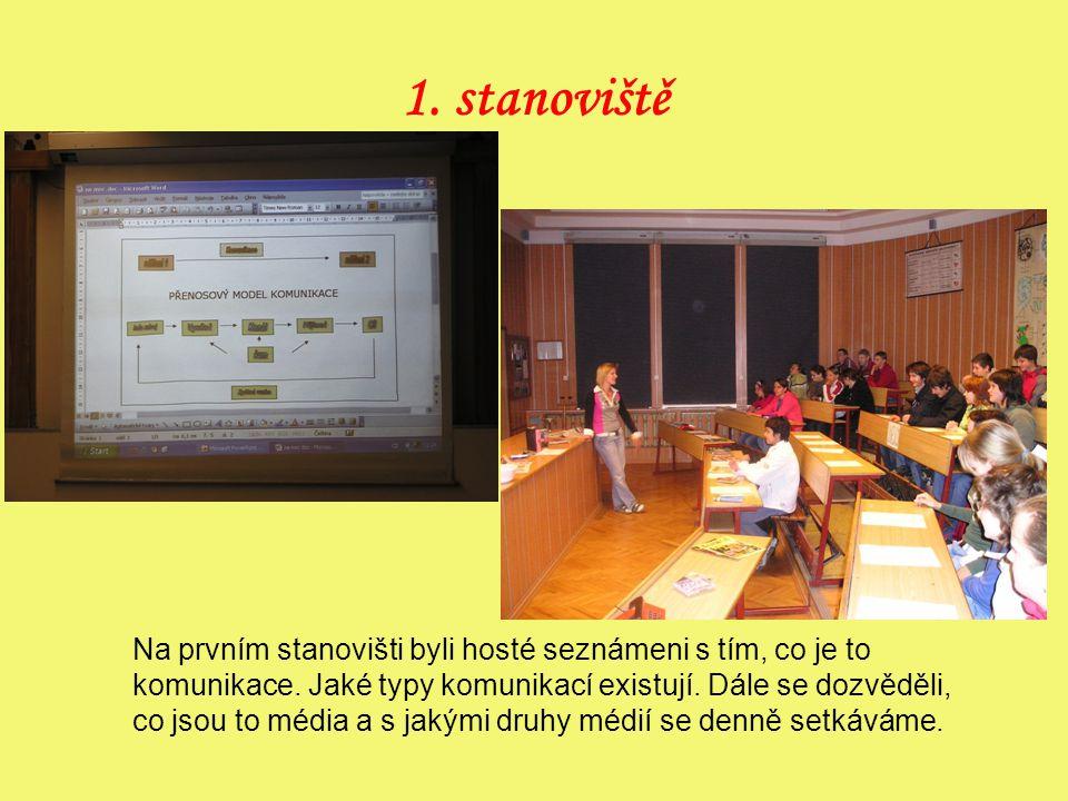 1.stanoviště Na prvním stanovišti byli hosté seznámeni s tím, co je to komunikace.