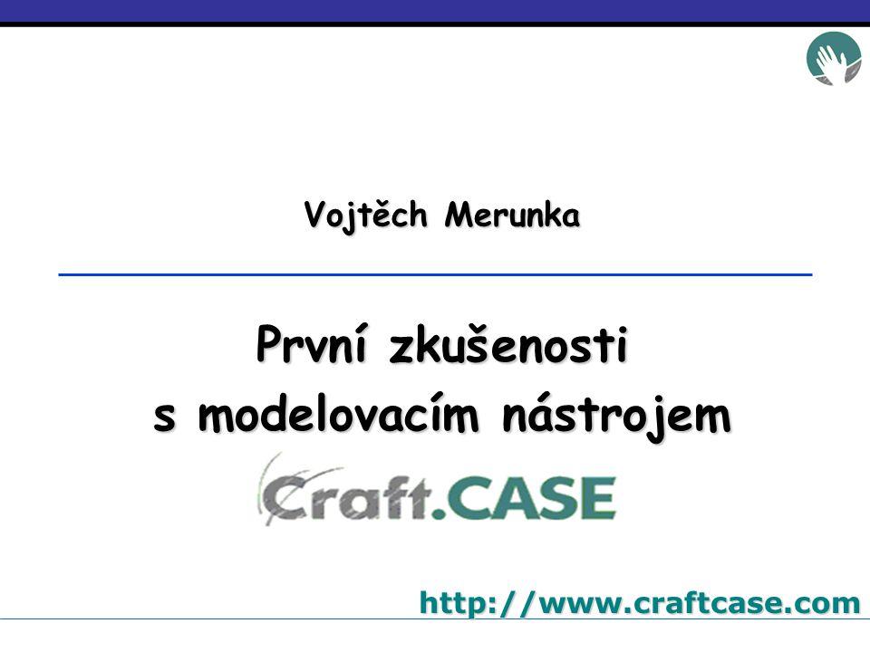 strana 12 z 12 První zkušenosti s modelovacím nástrojem Craft.CASE TSW Ostrava 2005Vojtěch MerunkaZávěr 1.Rychlý vývoj díky využití čistě objektového přístupu a technologie VisualWorks/Smalltalk.
