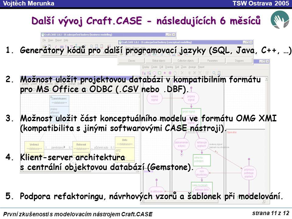 strana 11 z 12 První zkušenosti s modelovacím nástrojem Craft.CASE TSW Ostrava 2005Vojtěch Merunka Další vývoj Craft.CASE - následujících 6 měsíců 1.Generátory kódů pro další programovací jazyky (SQL, Java, C++, …) 2.Možnost uložit projektovou databázi v kompatibilním formátu pro MS Office a ODBC (.CSV nebo.DBF).