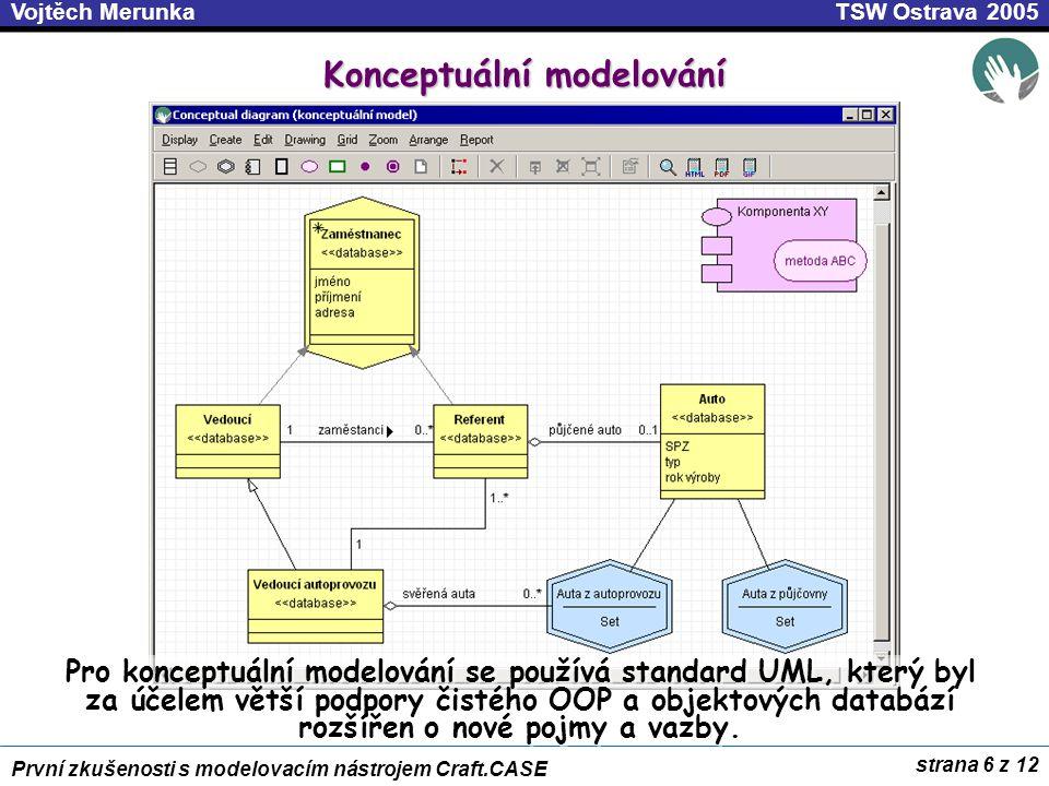 strana 6 z 12 První zkušenosti s modelovacím nástrojem Craft.CASE TSW Ostrava 2005Vojtěch Merunka Konceptuální modelování Pro konceptuální modelování se používá standard UML, který byl za účelem větší podpory čistého OOP a objektových databází rozšířen o nové pojmy a vazby.