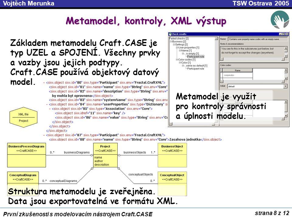 strana 9 z 12 První zkušenosti s modelovacím nástrojem Craft.CASE TSW Ostrava 2005Vojtěch Merunka Generování kódu .