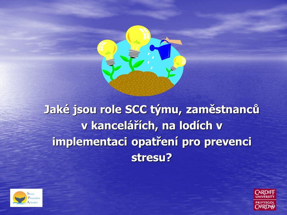 Jaké jsou role SCC týmu, zaměstnanců v kancelářích, na lodích v implementaci opatření pro prevenci stresu?