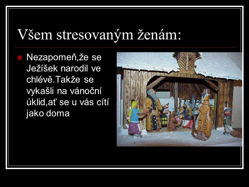 Všem stresovaným ženám:  Nezapomeň,že se Ježíšek narodil ve chlévě.Takže se vykašli na vánoční úklid,ať se u vás cítí jako doma