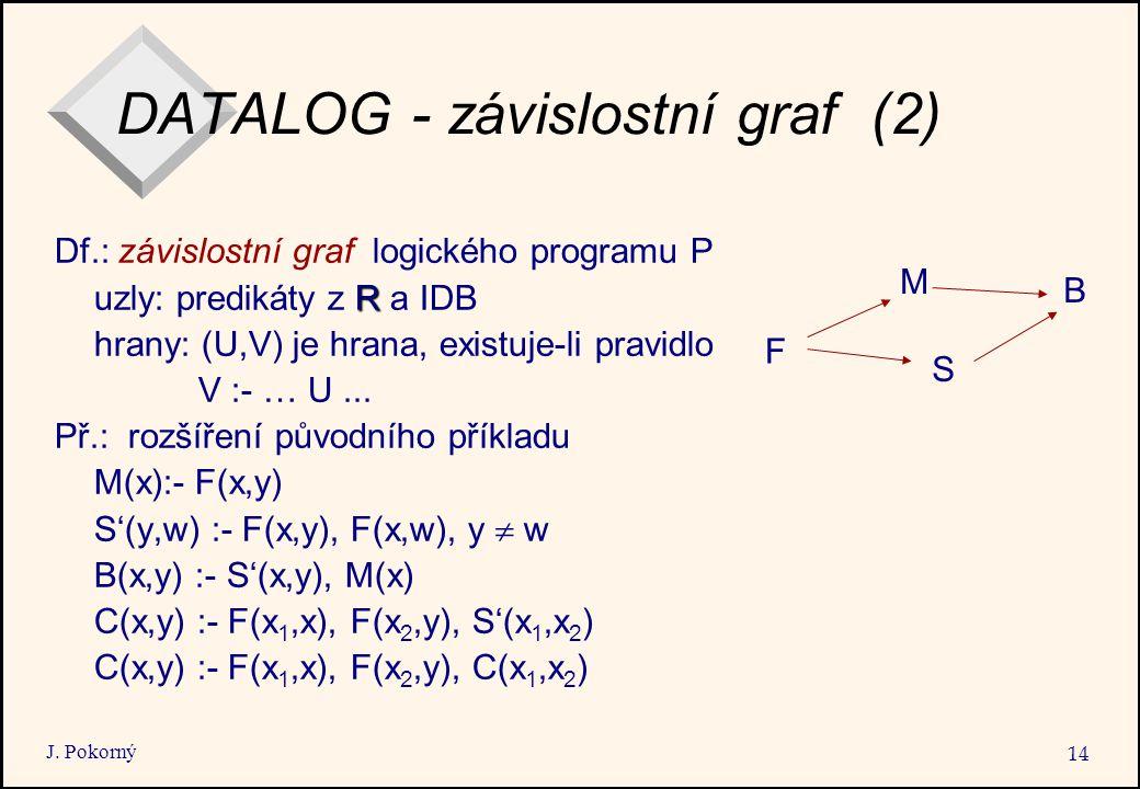 J. Pokorný 14 DATALOG - závislostní graf (2) Df.: závislostní graf logického programu P R uzly: predikáty z R a IDB hrany: (U,V) je hrana, existuje-li