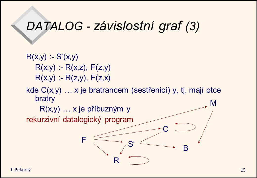 J. Pokorný 15 DATALOG - závislostní graf (3) R(x,y) :- S'(x,y) R(x,y) :- R(x,z), F(z,y) R(x,y) :- R(z,y), F(z,x) kde C(x,y) … x je bratrancem (sestřen