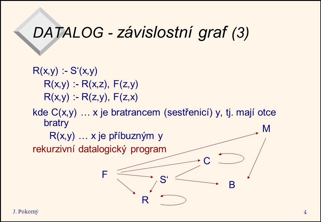 J. Pokorný 4 DATALOG - závislostní graf (3) R(x,y) :- S'(x,y) R(x,y) :- R(x,z), F(z,y) R(x,y) :- R(z,y), F(z,x) kde C(x,y) … x je bratrancem (sestřeni