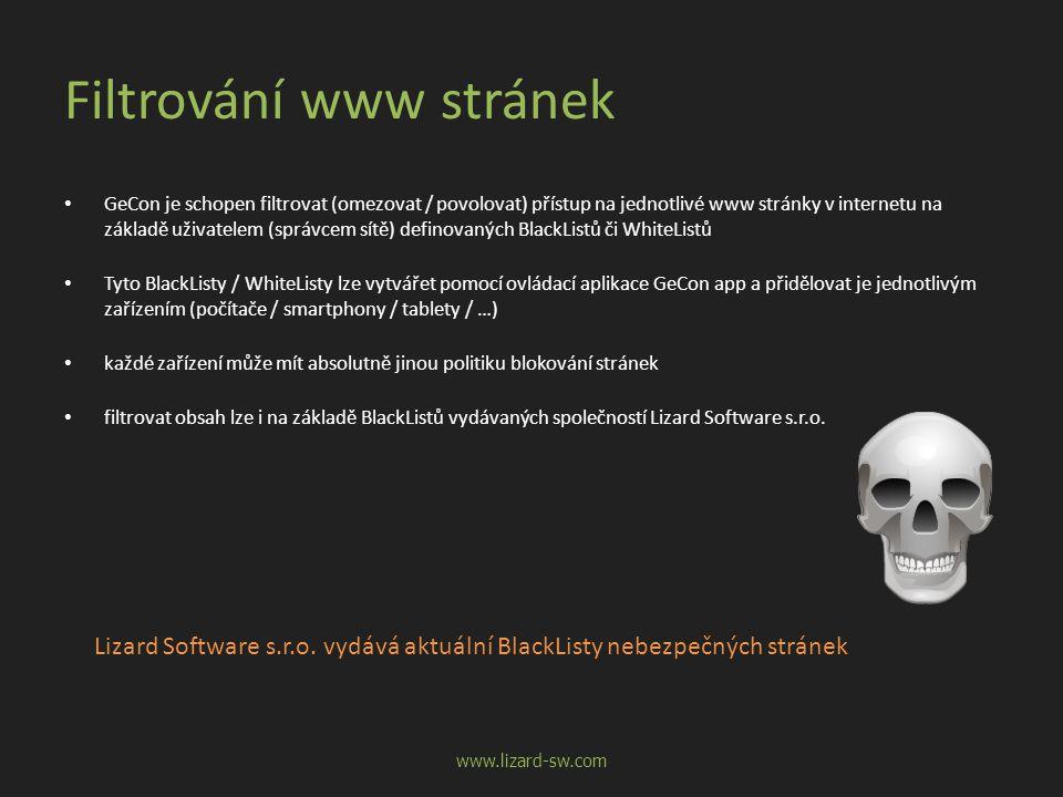Filtrování www stránek • GeCon je schopen filtrovat (omezovat / povolovat) přístup na jednotlivé www stránky v internetu na základě uživatelem (správc