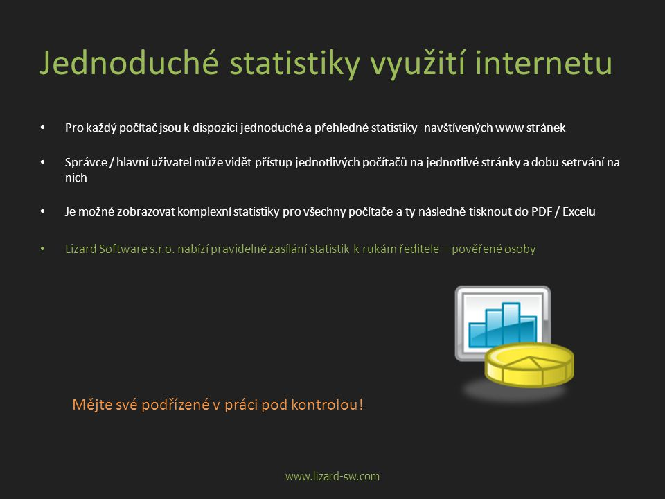 Jednoduché statistiky využití internetu • Pro každý počítač jsou k dispozici jednoduché a přehledné statistiky navštívených www stránek • Správce / hlavní uživatel může vidět přístup jednotlivých počítačů na jednotlivé stránky a dobu setrvání na nich • Je možné zobrazovat komplexní statistiky pro všechny počítače a ty následně tisknout do PDF / Excelu • Lizard Software s.r.o.