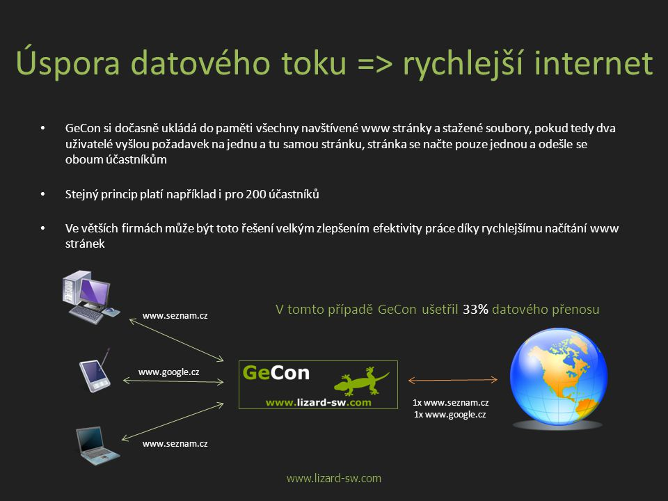 Úspora datového toku => rychlejší internet • GeCon si dočasně ukládá do paměti všechny navštívené www stránky a stažené soubory, pokud tedy dva uživat