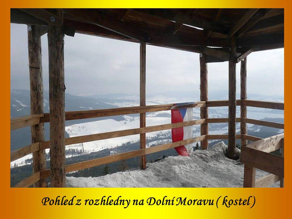 Pohled z rozhledny na Dolní Moravu ( kostel )