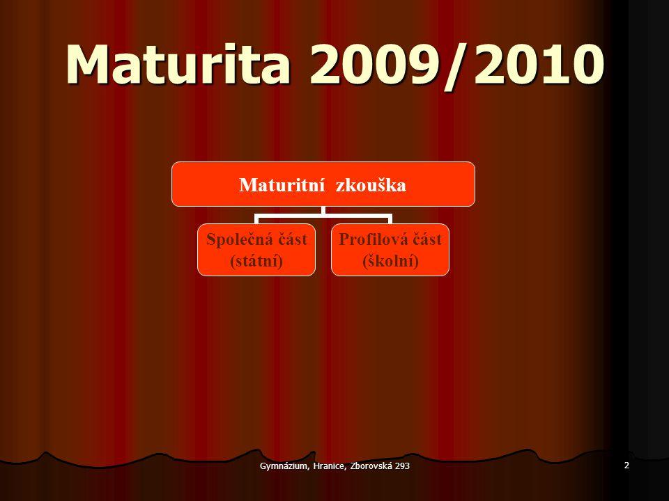 Gymnázium, Hranice, Zborovská 293 2 Maturita 2009/2010 Maturitní zkouška Společná část (státní) Profilová část (školní)