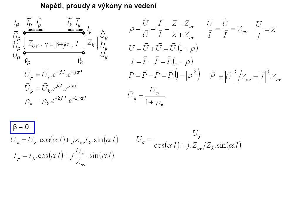 Napětí, proudy a výkony na vedení β = 0