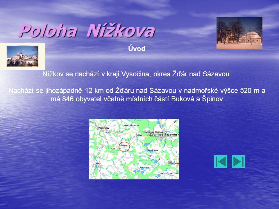 Poloha Nížkova Úvod Nížkov se nachází v kraji Vysočina, okres Žďár nad Sázavou. Nachází se jihozápadně 12 km od Žďáru nad Sázavou v nadmořské výšce 52