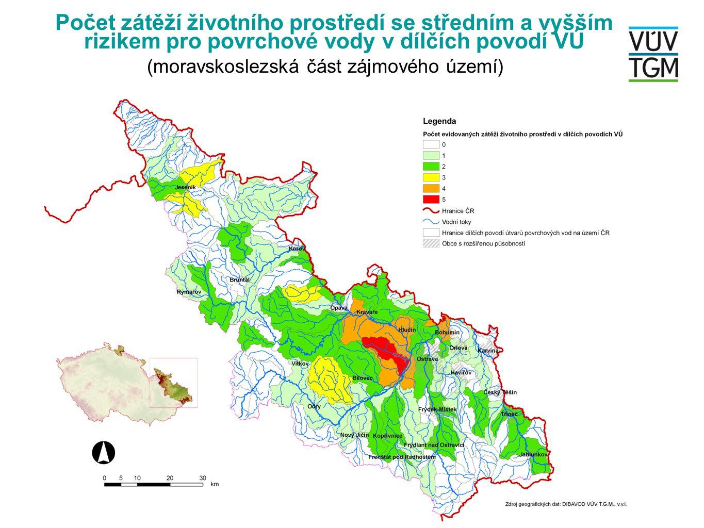 Počet zátěží životního prostředí se středním a vyšším rizikem pro povrchové vody v dílčích povodí VÚ (moravskoslezská část zájmového území)
