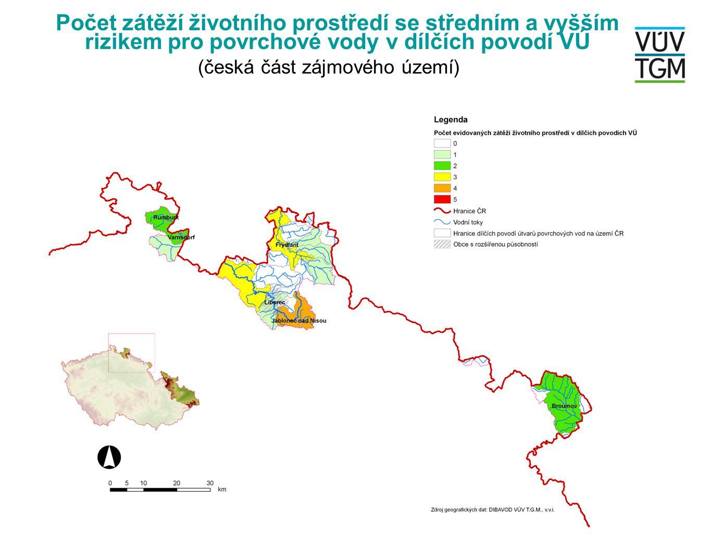 Počet zátěží životního prostředí se středním a vyšším rizikem pro povrchové vody v dílčích povodí VÚ (česká část zájmového území)