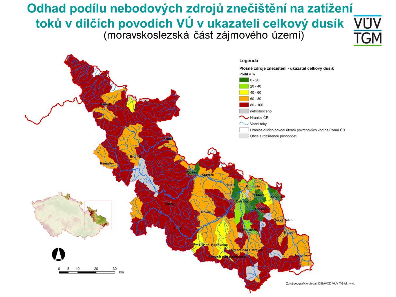 Odhad podílu nebodových zdrojů znečištění na zatížení toků v dílčích povodích VÚ v ukazateli celkový dusík (moravskoslezská část zájmového území)