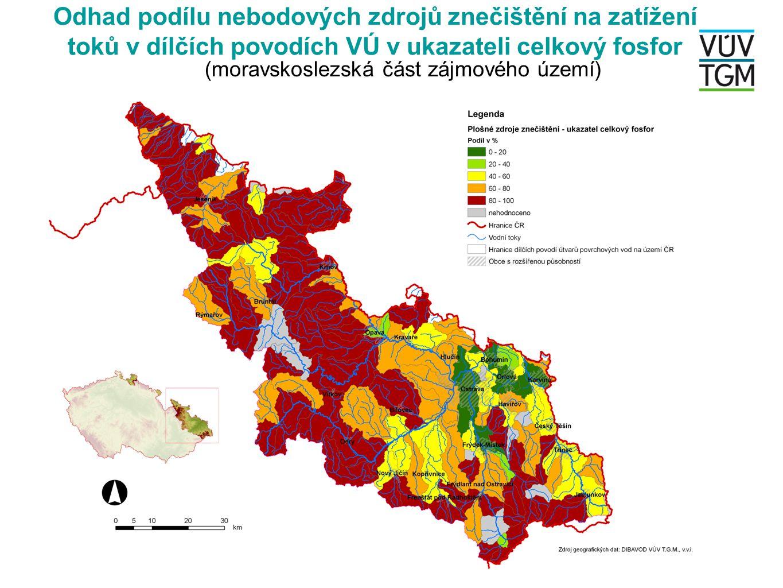 Odhad podílu nebodových zdrojů znečištění na zatížení toků v dílčích povodích VÚ v ukazateli celkový fosfor (moravskoslezská část zájmového území)