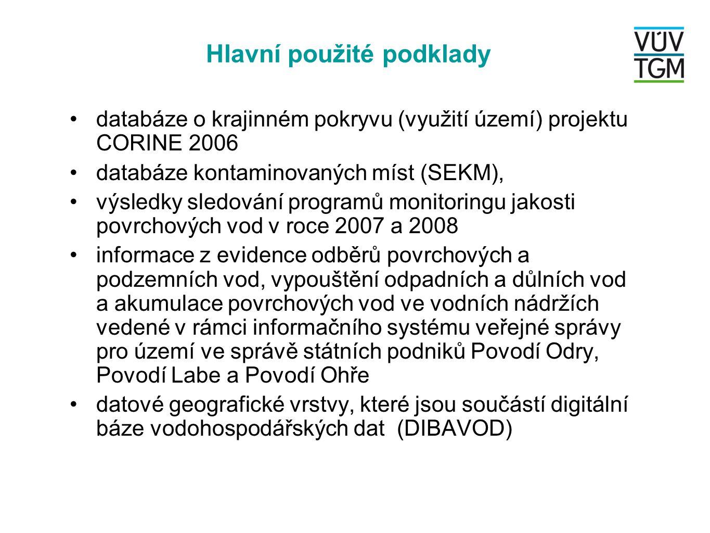 •databáze o krajinném pokryvu (využití území) projektu CORINE 2006 •databáze kontaminovaných míst (SEKM), •výsledky sledování programů monitoringu jak