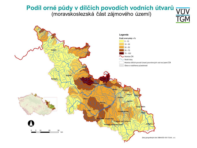 Podíl orné půdy v dílčích povodích vodních útvarů (moravskoslezská část zájmového území)