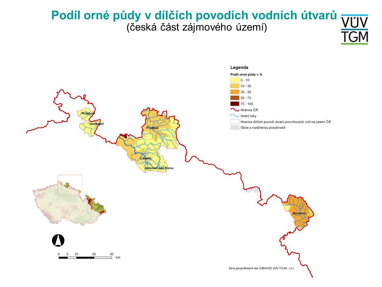 Podíl urbanizovaných ploch v dílčích povodích VÚ (moravskoslezská část zájmového území)