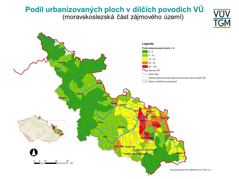 Podíl urbanizovaných ploch v dílčích povodích VÚ (česká část zájmového území)