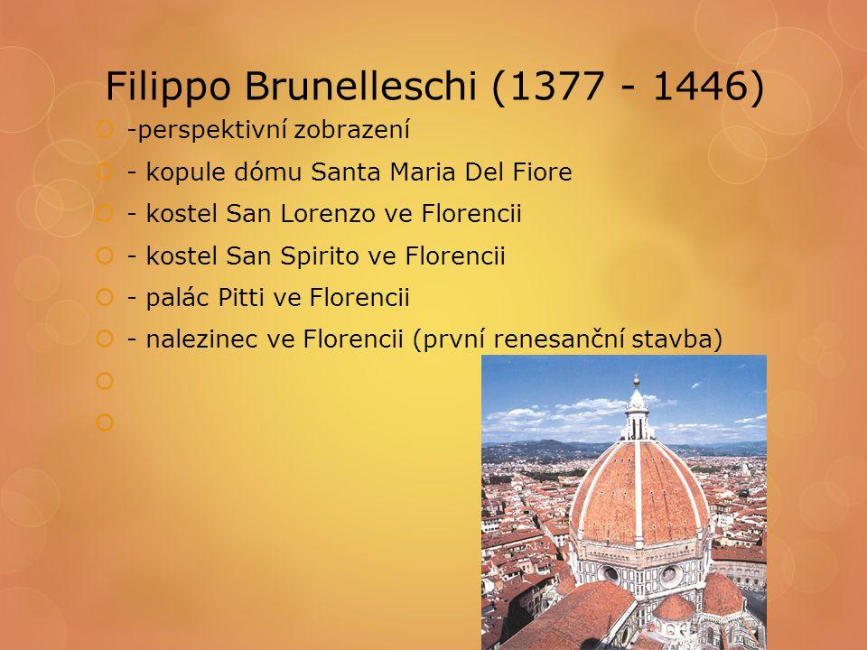 Filippo Brunelleschi (1377 - 1446)  -perspektivní zobrazení  - kopule dómu Santa Maria Del Fiore  - kostel San Lorenzo ve Florencii  - kostel San