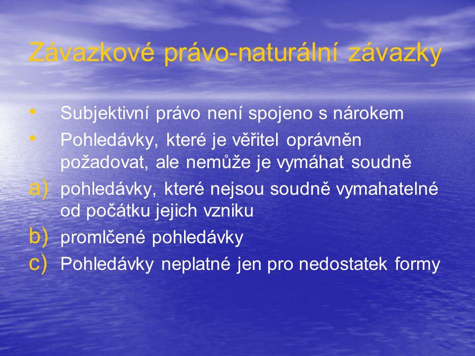 Závazkové právo-naturální závazky • • Subjektivní právo není spojeno s nárokem • • Pohledávky, které je věřitel oprávněn požadovat, ale nemůže je vymá