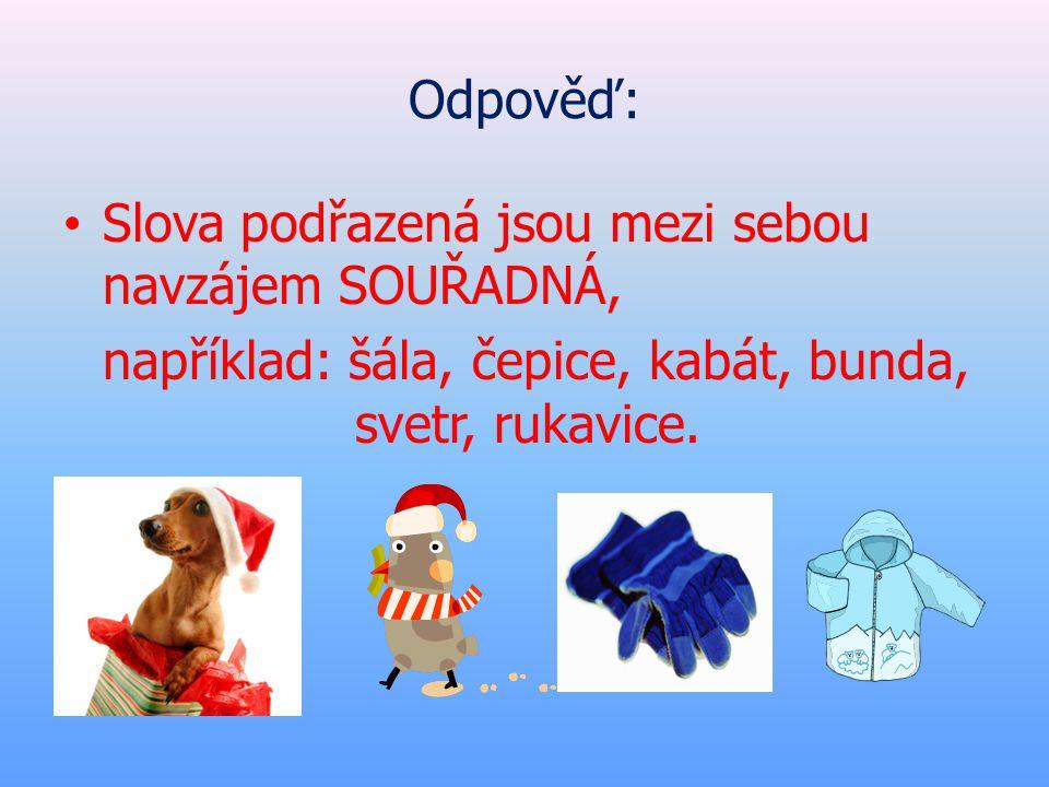 Odpověď: • Slova podřazená jsou mezi sebou navzájem SOUŘADNÁ, například: šála, čepice, kabát, bunda, svetr, rukavice.
