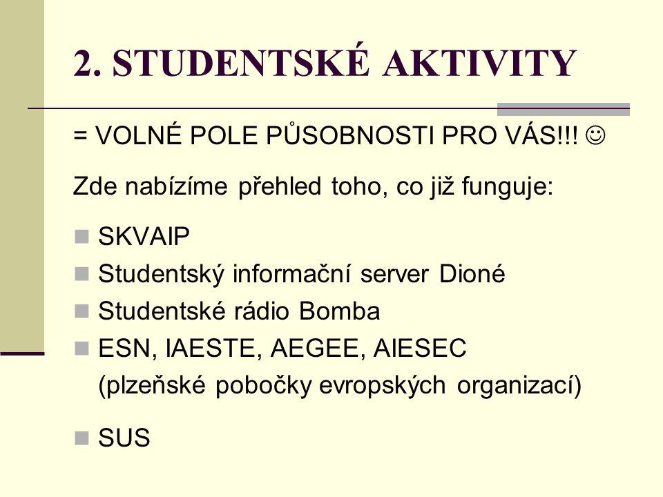 2. STUDENTSKÉ AKTIVITY = VOLNÉ POLE PŮSOBNOSTI PRO VÁS!!!  Zde nabízíme přehled toho, co již funguje:  SKVAIP  Studentský informační server Dioné 