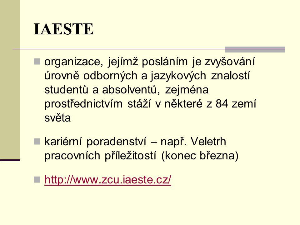 IAESTE  organizace, jejímž posláním je zvyšování úrovně odborných a jazykových znalostí studentů a absolventů, zejména prostřednictvím stáží v některé z 84 zemí světa  kariérní poradenství – např.