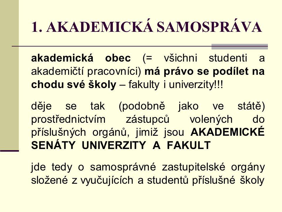 """akademické senáty na ZČU 1 univerzitní – tzv.""""velký 8 fakultních – tzv."""