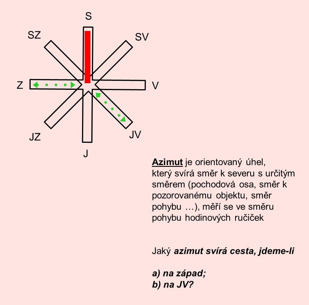 S J V Z SV SZ JZ JV Azimut je orientovaný úhel, který svírá směr k severu s určitým směrem (pochodová osa, směr k pozorovanému objektu, směr pohybu …)