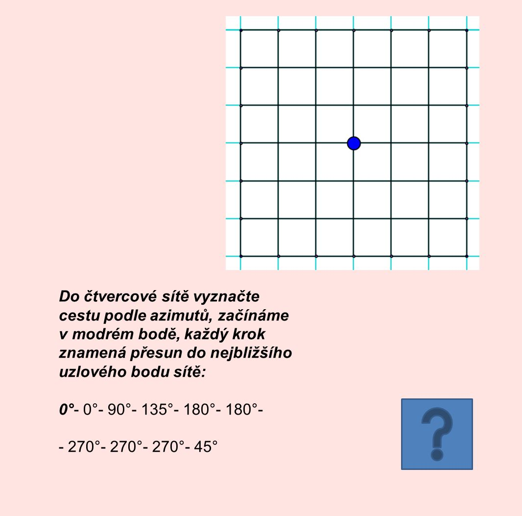 Do čtvercové sítě vyznačte cestu podle azimutů, začínáme v modrém bodě, každý krok znamená přesun do nejbližšího uzlového bodu sítě: 0°- 0°- 90°- 135°