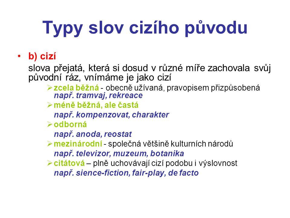 Typy slov cizího původu c/ nespisovná např.