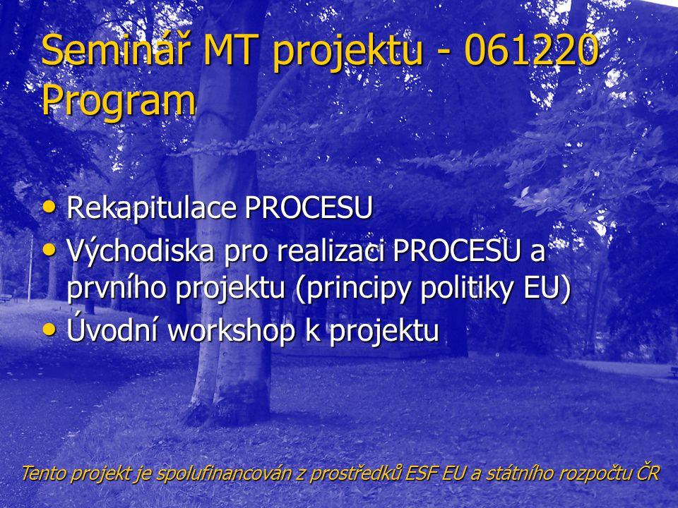 Seminář MT projektu - 061220 Program • Rekapitulace PROCESU • Východiska pro realizaci PROCESU a prvního projektu (principy politiky EU) • Úvodní work