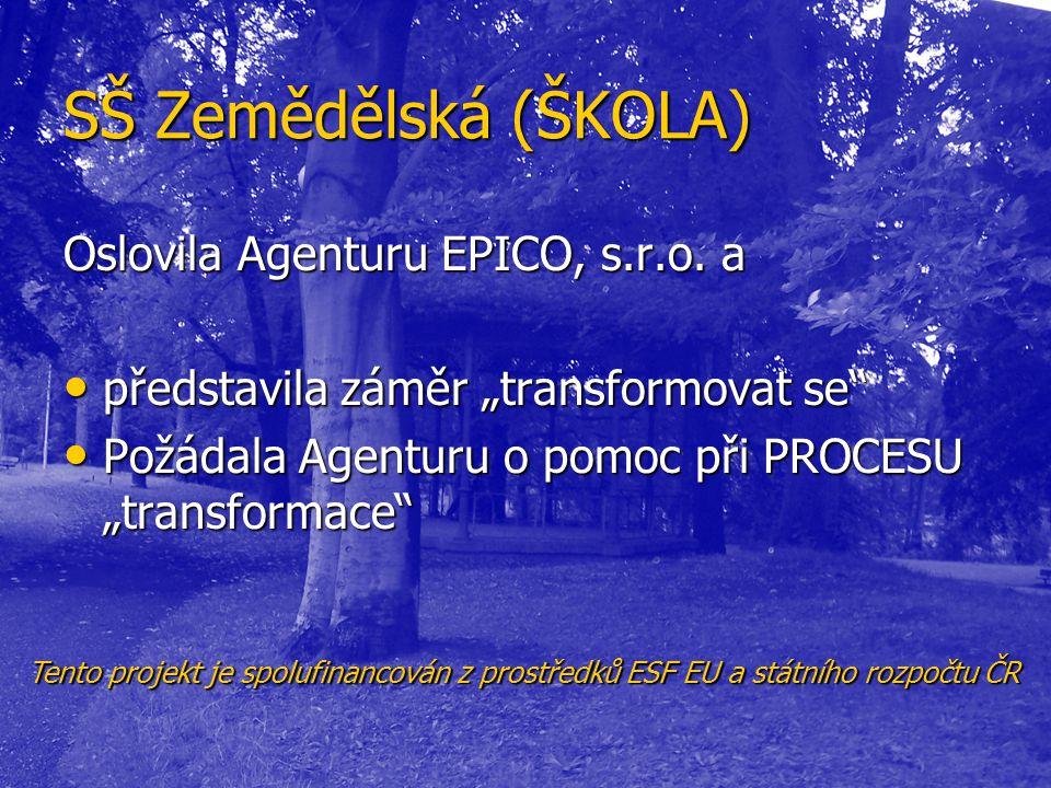 """SŠ Zemědělská (ŠKOLA) Oslovila Agenturu EPICO, s.r.o. a • představila záměr """"transformovat se"""" • Požádala Agenturu o pomoc při PROCESU """"transformace"""""""