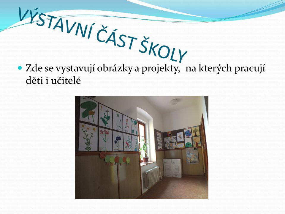 VÝSTAVNÍ ČÁST ŠKOLY  Zde se vystavují obrázky a projekty, na kterých pracují děti i učitelé