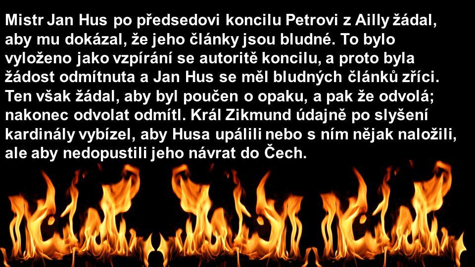 Mistr Jan Hus po předsedovi koncilu Petrovi z Ailly žádal, aby mu dokázal, že jeho články jsou bludné. To bylo vyloženo jako vzpírání se autoritě konc