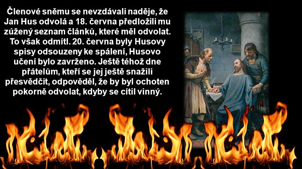 Členové sněmu se nevzdávali naděje, že Jan Hus odvolá a 18. června předložili mu zúžený seznam článků, které měl odvolat. To však odmítl. 20. června b