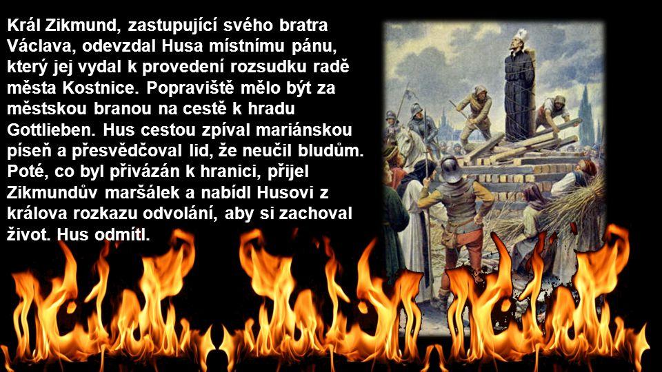 Král Zikmund, zastupující svého bratra Václava, odevzdal Husa místnímu pánu, který jej vydal k provedení rozsudku radě města Kostnice. Popraviště mělo